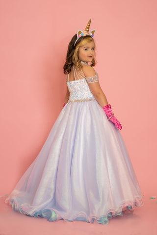 Sugar Kayne C103 size 8 Unicorn Long Metallic Pastel Girls Pageant Dress Sequin Velvet Gown