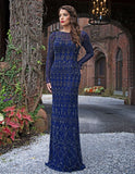 Primavera Couture 3181 Long beaded long sleeve evening gown sequin
