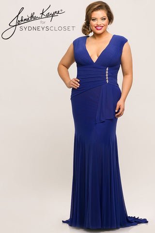 Johnathan Kayne for Sydneys Closet JK2004 Shelby plunging neckline with side sash at the waistline and a v back long fitted evening gown prom dress