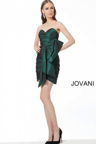 Jovani 00100 Short Cocktail Evening Dress Homecoming bow Ruched Strapless 2020