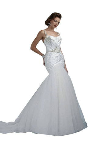 Impression Bridal 10004 Size 10 Fit & Flare Mermaid Wedding Dress Crystal Straps Tulle