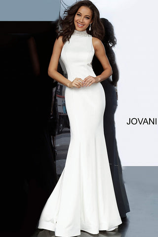 Jovani 1005 Long Mermaid 2020 Prom Dress Evening Gown High Neck Open Back Embellished