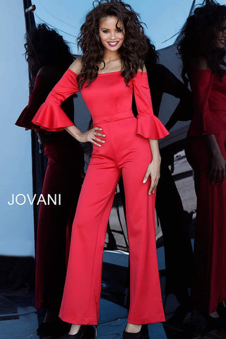 Jovani 1006 Black and Red Pageant Jumpsuit Ruffle Sleeve Romper Sizes 00-24