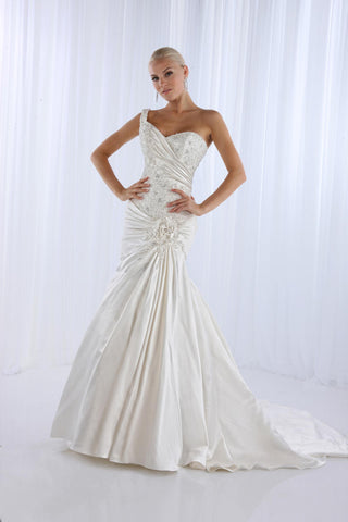 Impression Bridal 10092 One strap fit and flare mermaid wedding gown size 2 Ivory