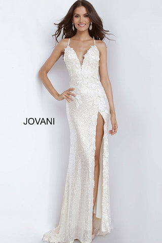 Jovani 1012 Sequin Fitted Formal Dress Slit Prom Pageant Backless Floral Bodice
