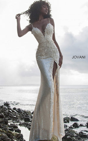 Jovani 1012 Long Sequin Floral Appliques Plunging Neckline Prom Dress Embellished