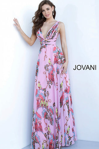 Jovani 1032 Long Chiffon 2020 Prom Dress Pleated Print Floral Print V Neck Open Back