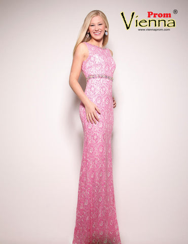 Vienna 1034 Peach Size 6 Pink Long Lace Prom Dress Pageant Gown Crystal