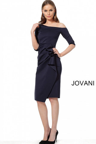 Jovani 1035 Short Cocktail Dress Sleeve 2019 Ivory, Navy and Red Sizes 00-24