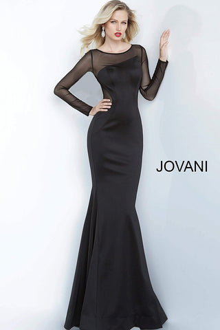 Jovani 1033 Long Fitted Mermaid 2020 Prom Dress Sheer Long Sleeve Gown Evening Formal