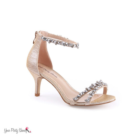 Your Party Shoes Grace Glitter Heel Crystal Embellished Straps Ankle Prom