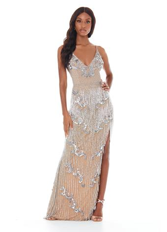 Ashley Lauren 1817X V neckline fitted fringe pageant dress evening gown prom dress
