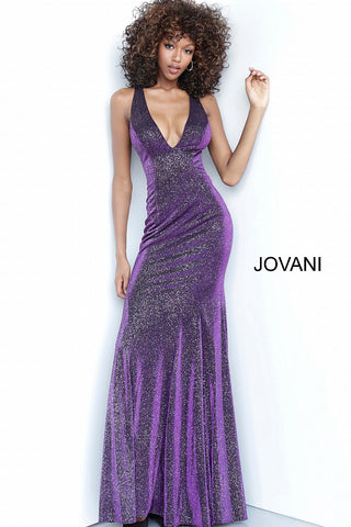 Jovani 1068 Long Iridescent Shimmer Fitted Prom Dress V Neck Open Back 2020