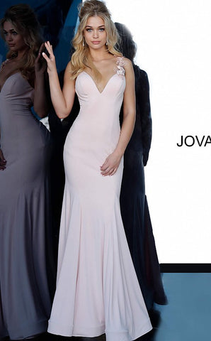 Jovani 1074 Blush Fitted Mermaid V Neck Sexy Lace Train Prom Dress Pageant