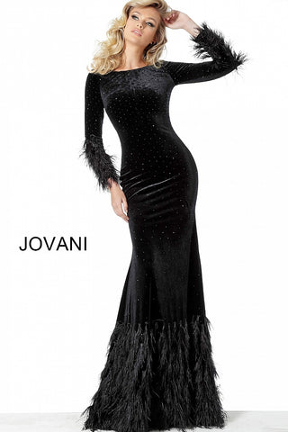 Jovani 1085 Black Sizes 00-24 long Sleeves Sheath Velvet Evening Dress 1085 feather hem long skirt and feather trimmed sleeves with bateau neckline.