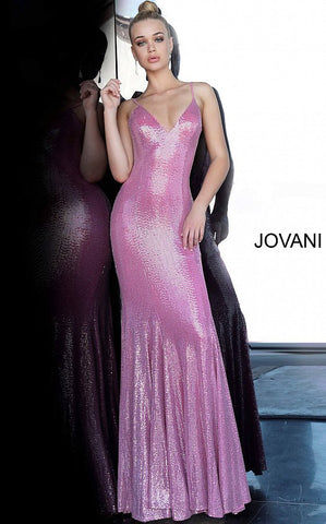 Jovani 1087 Long Fitted Metallic Shimmer 2020 Prom Dress V Neck Open Back Flare