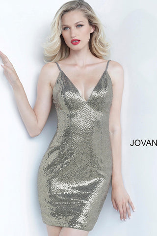 Jovani 1094 Short Fitted Cocktail Dress Homecoming Gown Shimmer Iridescent V Neck 2020