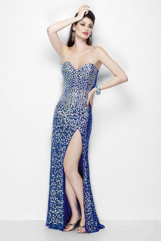 Primavera Couture 1104 Blue size 8, 10 Sequin Fitted Strapless Slit Dress Formal Gown