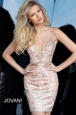 Jovani 1106 Homecoming Rose Gold Plunging Neckline Cocktail dress
