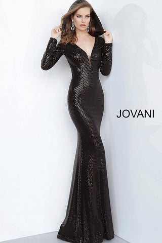 Jovani 1107 Embellished Long Mermaid Prom Dress Long Sleeves Hooded Gown 2020