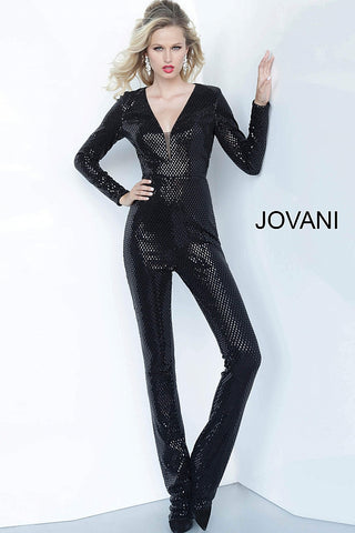 Jovani 1108 Metallic Shimmer Long Jumpsuit Prom 2020 Hooded Long Sleeve Open Back