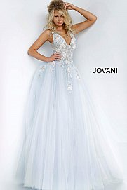Jovani 11092 Long Sheer A Line Ballgown Formal Dress Floral Applique Romantic