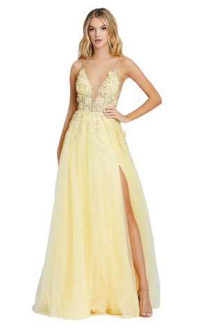 Mac Duggal 11125M - 11125 Soft pastels are all the rage for this prom season! This gown has a plunging deep v neckline, 3-D embroidered flowers, rhinestones and beads accent the illusion bustier bodice and flowing chiffon skirt finished with a slit. This Mac Duggal Prom Collection 11125M lemon formal dress features an illusion top with crystal trims on the plunging neckline, spaghetti straps and open back. Beaded 3D floral appliques trickle from the notched bodice to the gathered topskirt. The A-line tulle