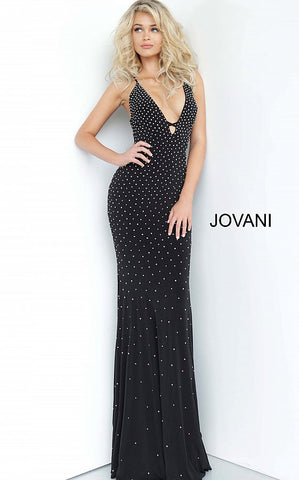 Jovani 1114 Long Fitted Jersey Flared Prom Dress 2020 Crystal Embellishments Tie Back