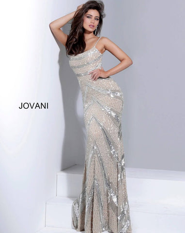 Jovani 1116 nude silver long party dress is crafted in lattice and chevron beaded mesh, with a shallow scoop neckline, spaghetti straps, and open back. Color Nude/Silver  Sizes  00, 0, 2, 4, 6, 8, 10, 12, 14, 16, 18, 20, 22, 24  Prom Dress, Pageant Gown, Evening Gown, Mother of the Bride or Groom Dress, Gala Dress, Red Carpet Gown