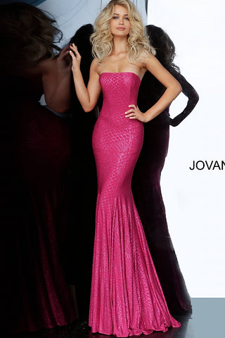 Jovani 1121 Long Embellished Fitted Prom Dress Strapless Gown Shimmer 2020