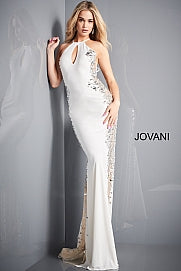 Jovani 1126 Long Fitted High Neck Jersey Sheer Cut Glass Prom Dress Formal