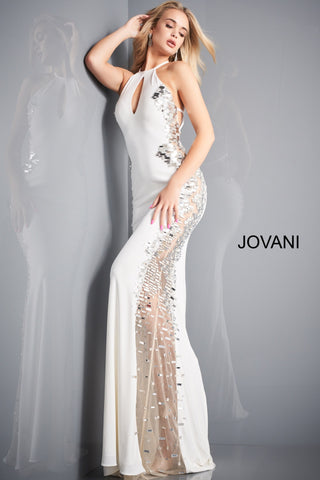 Jovani 1126 is along fitted stretch jersey Formal evening gown. Featuring a high neckline with a keyhole cutout. Backless prom design with straps. Sheer side panel with mesh running the length of this Pageant gown. Cut Glass paillette embellishments adorn the sheer side. Available Sizes: 00,0,2,4,6,8,10,12,14,16,18,20,22,24  Available Colors: Black, Blue, Off White, Red