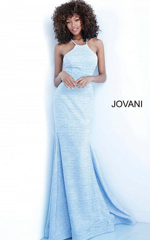 Jovani 1139 Long Fitted Glitter Embellished Prom Dress High Neck Lace up Train