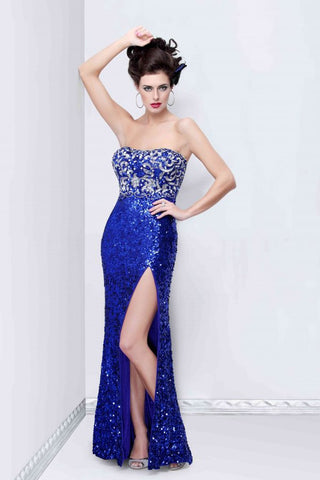 Primavera Couture 1155 strapless sweetheart neckline fully sequined long prom pageant dress evening gown features a silver beaded design in the bodice with side slit in Blue sizes 00, 4, 8, or 18.  No up charge for plus size.  In stock immediate shipment.