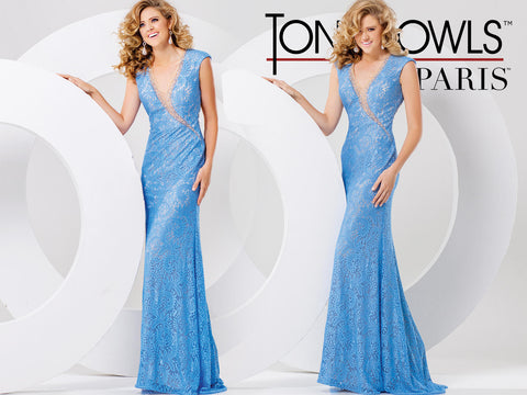 Tony Bowls 115712 peri  Size 0   Gorgeous v neckline cap sleeve long evening gown with open back  Prom Dress Pageant Gown