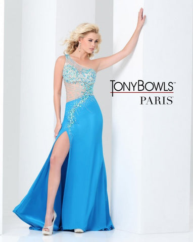 Tony Bowls Paris 115741 Turq Size 6 Prom Dress Illusion Pageant Gown