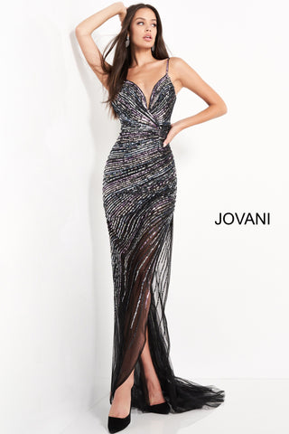 This Jovani 1160 black multicolor prom gown is fashioned in linear beaded mesh over a short lining, with a surplice plunging neckline and spaghetti straps. This fitted illusion dress is completed with a thigh-high cutaway slit and a sweep train. Plunging sweetheart v neckline. side slit with sheer skirt. Available Sizes: 00,0,2,4,6,8,10,12,14,16,18,20,22,24  Available Colors: BlackMulti
