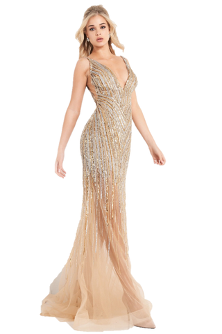 Jovani 1162 is a long fitted formal Embellished Evening Gown. Featuring a fully Embellished & Beaded asymmetrical Sequin pattern on Sheer material cascading down from the fitted bodice into the sheer trumpet skirt with horse hair trim. Deep V Neckline with an open V Back. This Prom Dress Fit & Flare Gown Features a sweeping train. Available Sizes: 00,0,2,4,6,8,10,12,14,16,18,20,22,24  Available Colors: Nude