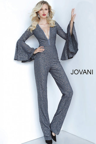 Jovani 1175 Long Shimmer Jumpsuit Bell Sleeve Plunging Neckline Lace 2020 Prom Dress
