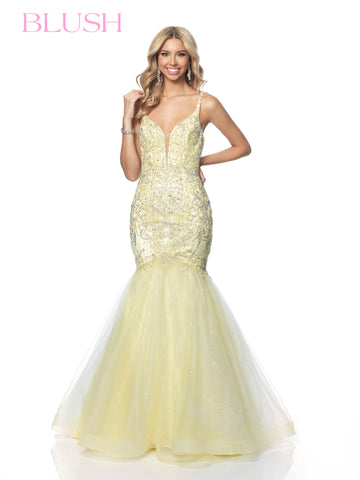 Blush Prom Dress 11886 Embellished Mermaid Gown Glitter Shimmer Tulle V Neck