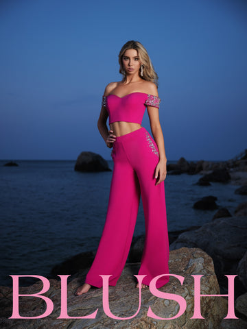 Blush Prom Jumpsuit 11890 two piece Pants Formal Pageant Wear Pockets 2020