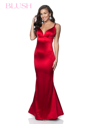 Blush Prom Dress 11892 Long Fitted Satin Gown Formal Evening V Neck Open Back