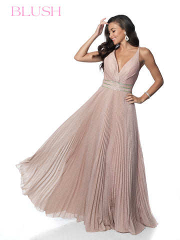 Blush Prom Dress 11899 Pleated Shimmer Embellished Ball Gown Iridescent Glitter