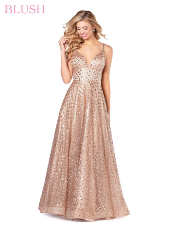 Blush Prom Dress 11904 Embellished Shimmer Glitter Ball Gown Formal Tulle V Neck