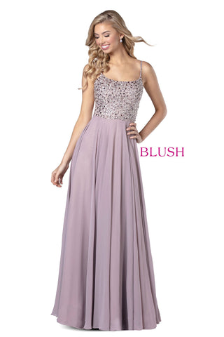 Blush Prom 11920 Long Chiffon Open Back Prom Dress Formal Evening Gown
