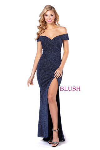 Blush Prom 11922 Glitter Shimmer Long Fitted Off Shoulder Prom Dress Evening