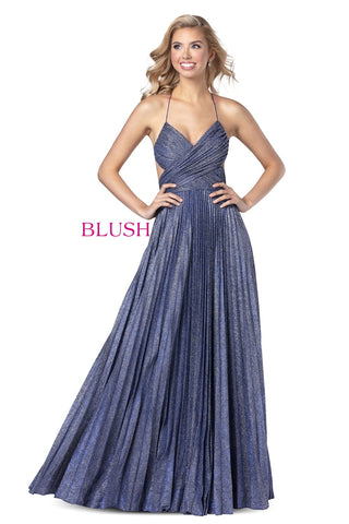 Blush Prom 11929 Long Shimmer Pleated Prom Dress Backless Glitter Gown Ruched