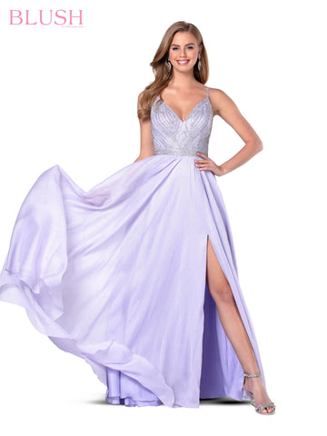 Blush Prom 11937 Long Shimmer Chiffon Prom Dress V Neck Slit V Neck 2020 Embellished