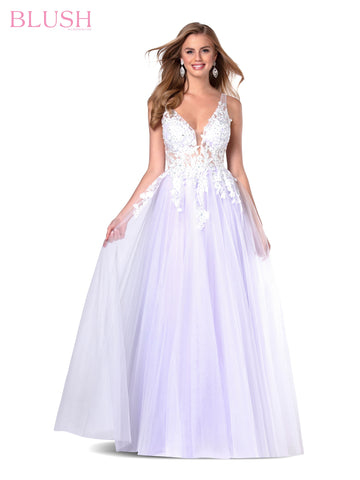 Blush Prom 11940 Long Pastel Sheer Prom Dress Floral Applique Ballgown Tulle