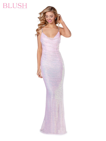 Blush Prom 11941 Long Sequin Cowl Neck Prom Dress Open Back Gown 2020 Formal
